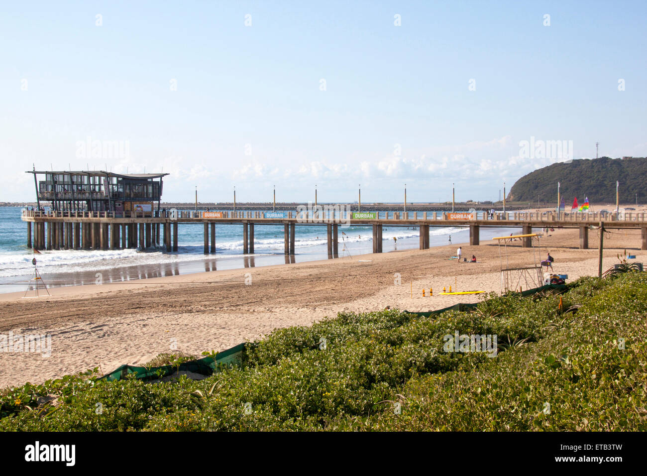 DURBAN, SOUTH AFRICA - JUNE 7, 2015: Many unknown people on Addington beach at Vetch's pier in Durban, South - Stock Image