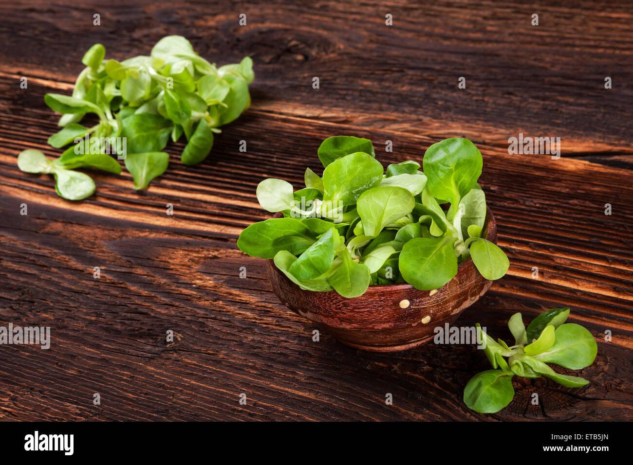 Fresh lamb\'s lettuce salad in wooden bowl on old wooden vintage ...