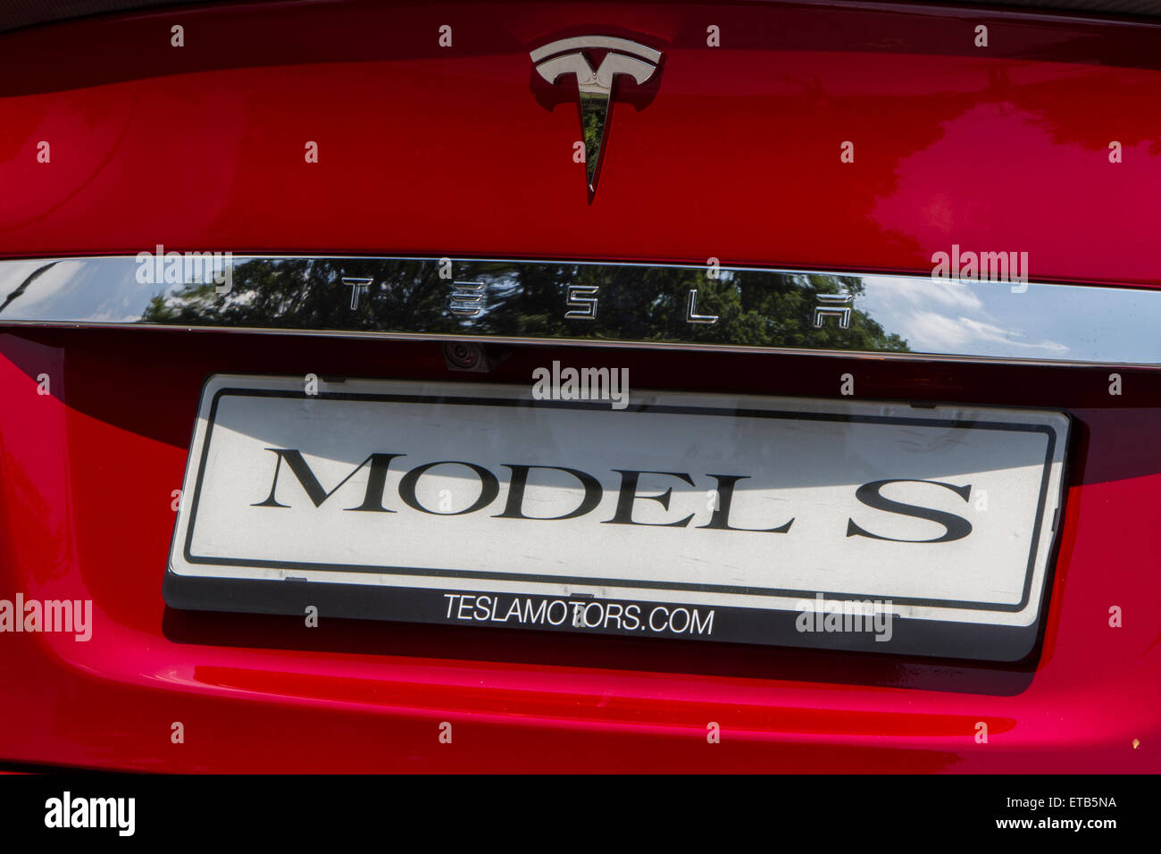 Turin, Italy, 11th June 2015. Back view of Tesla Model S. Parco Valentino car show hosted 93 cars by many automobile - Stock Image