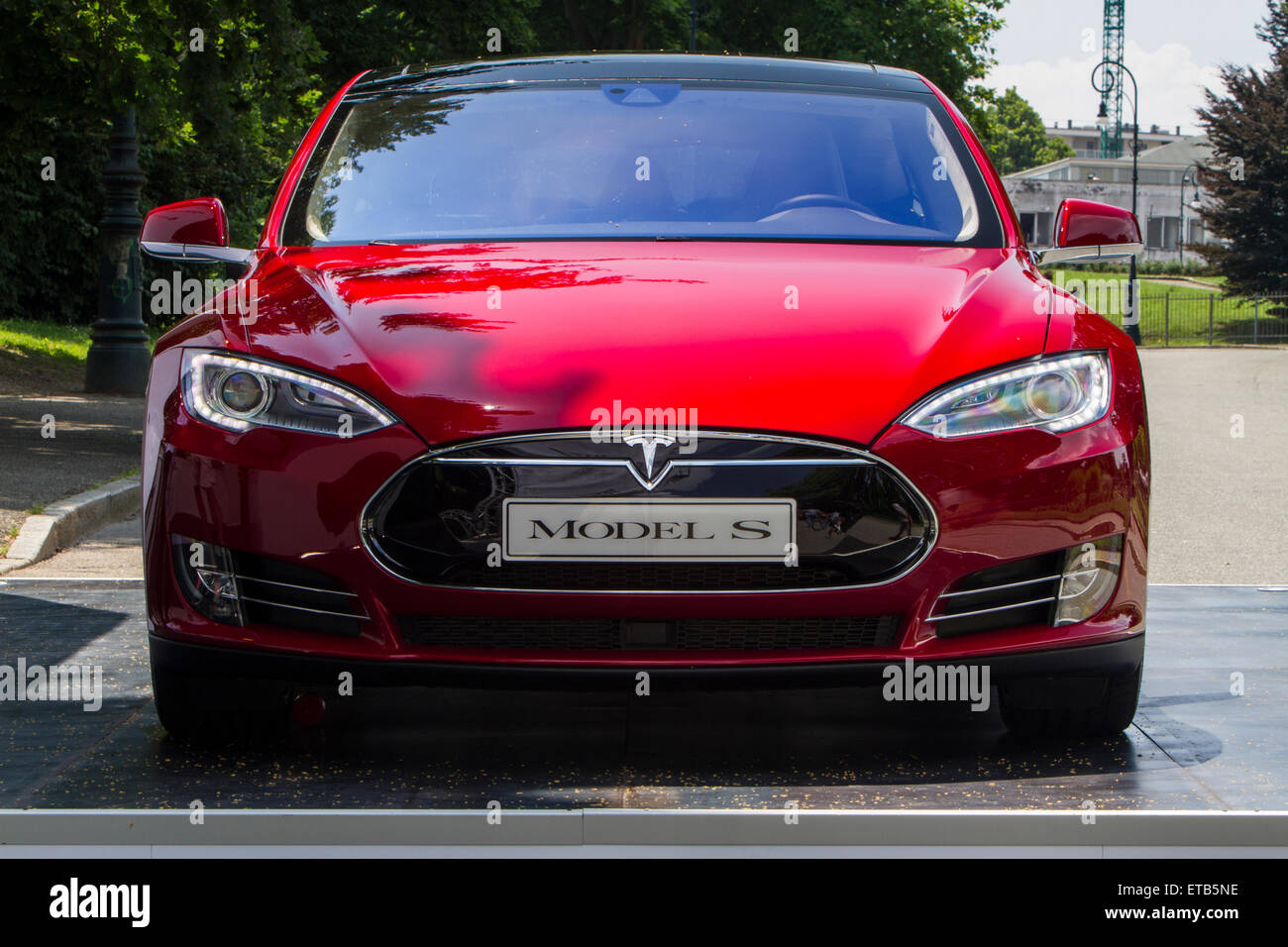 Turin, Italy, 11th June 2015. Front view of Tesla Model S. Parco Valentino car show hosted 93 cars by many automobile - Stock Image