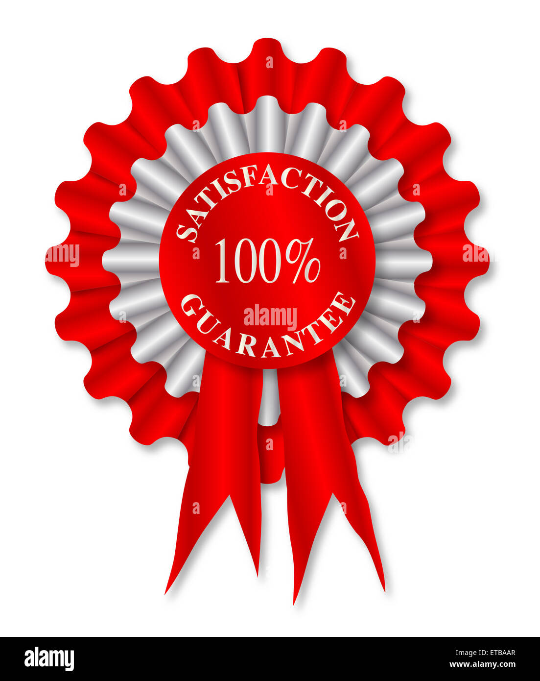 Red and white rosette with the legend satisfaction guarantee - Stock Image