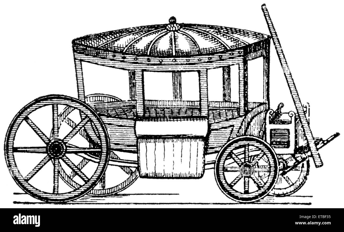 Vehicle of the time of Charles I, England, 1625, 'Classical Portfolio of Primitive Carriers', by Marshall - Stock Image