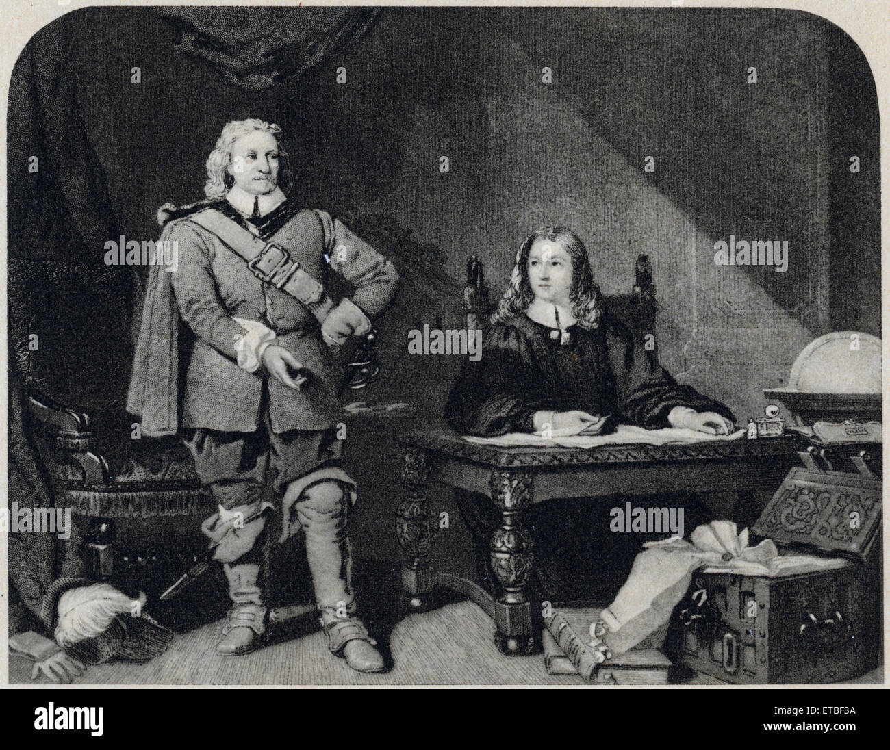 Oliver Cromwell Dictating to John Milton, Letter to the Duke of Savoy to Stop the Persecution of the Protestants - Stock Image