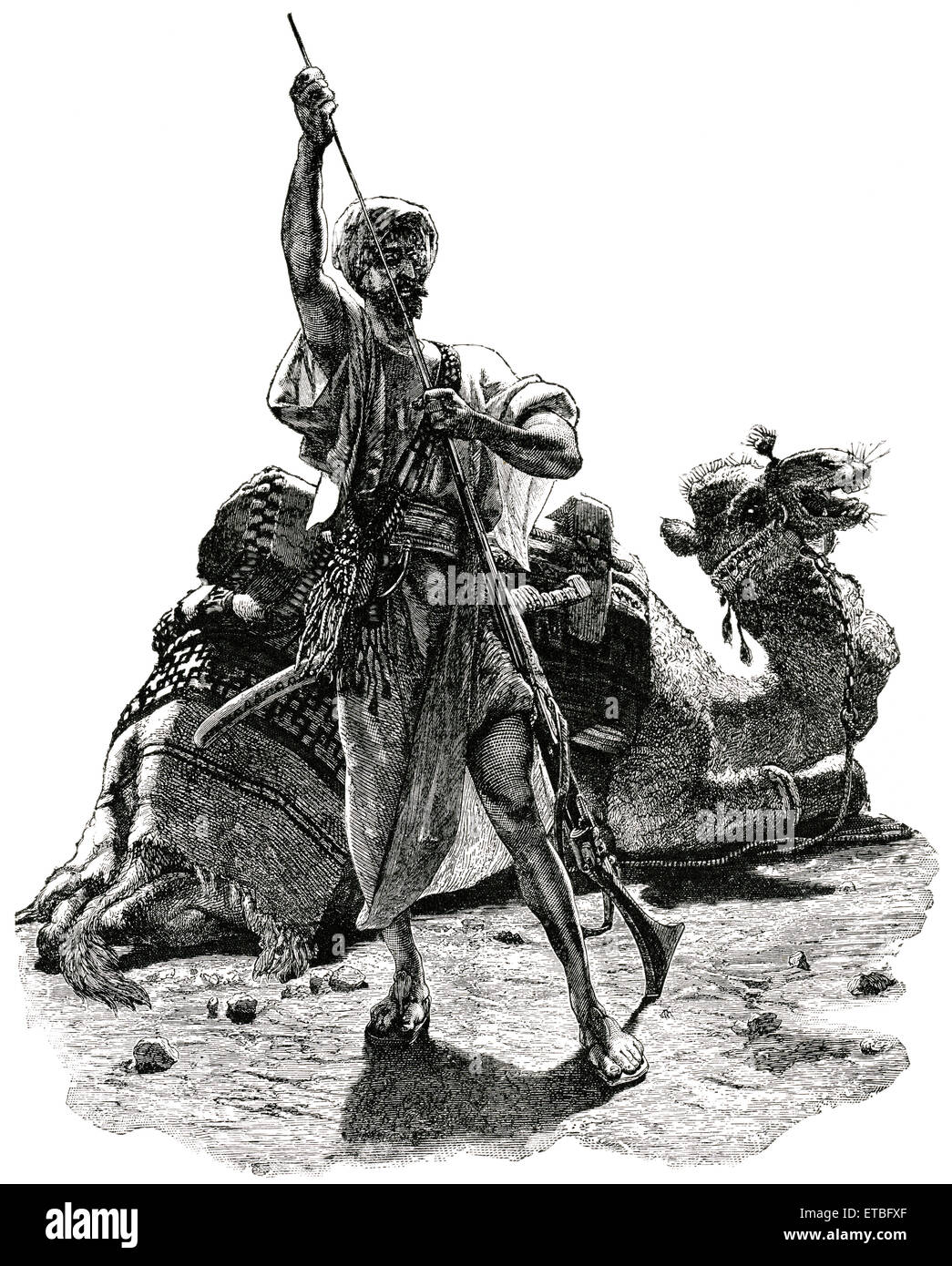 Arab Man in Desert Preparing to Meet Approaching Foe, Arabia, 'Classical Portfolio of Primitive Carriers', - Stock Image