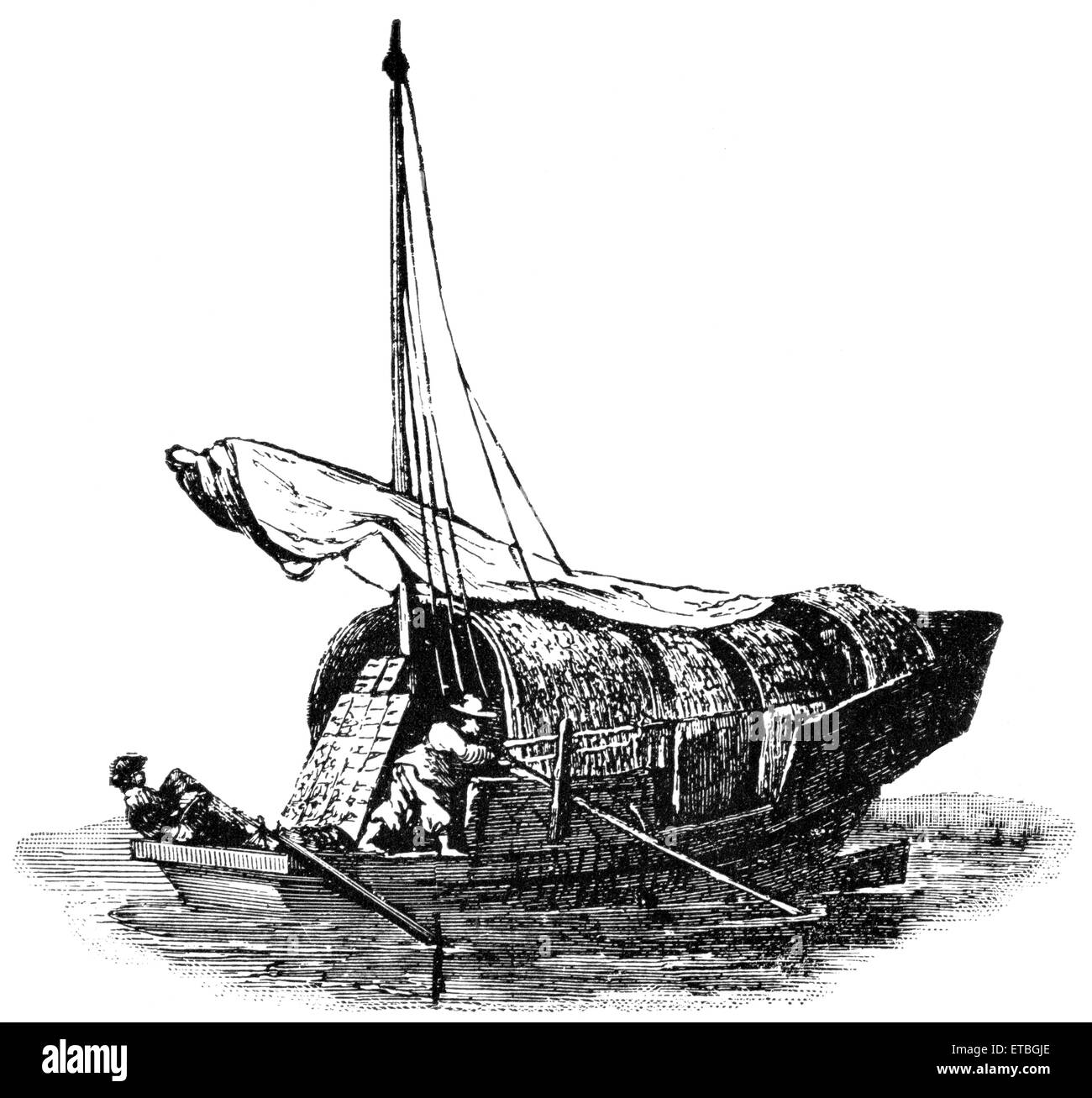 Native Vessel on Canton River, China, 'Classical Portfolio of Primitive Carriers', by Marshall M. Kirman, - Stock Image