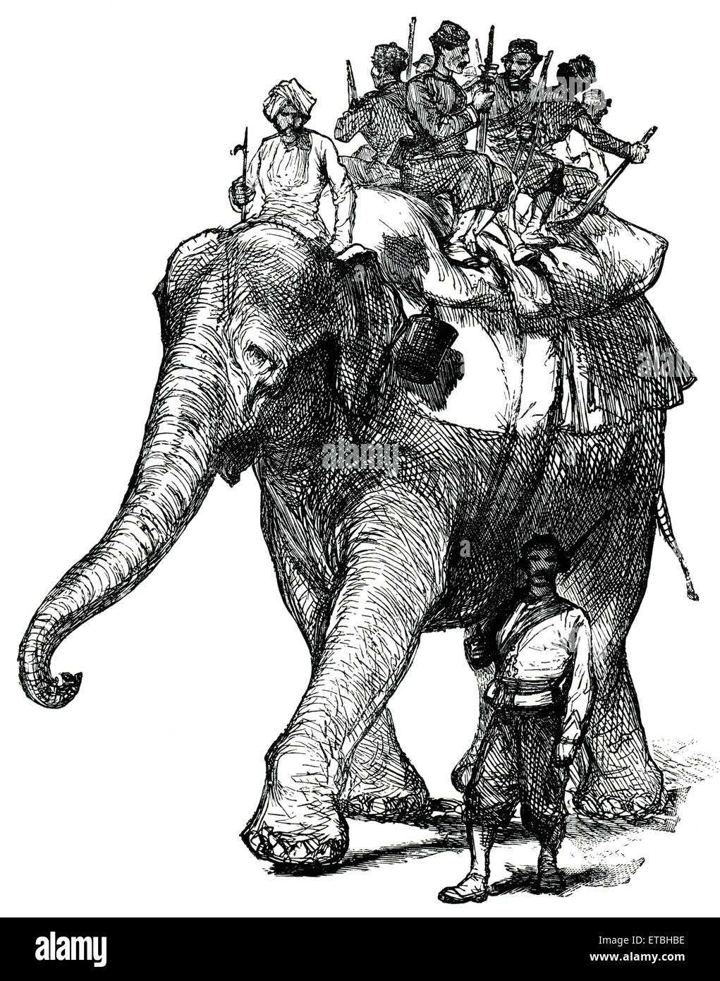 Elephant Transporting Soldiers during War, Afghanistan, 'Classical Portfolio of Primitive Carriers', by - Stock Image