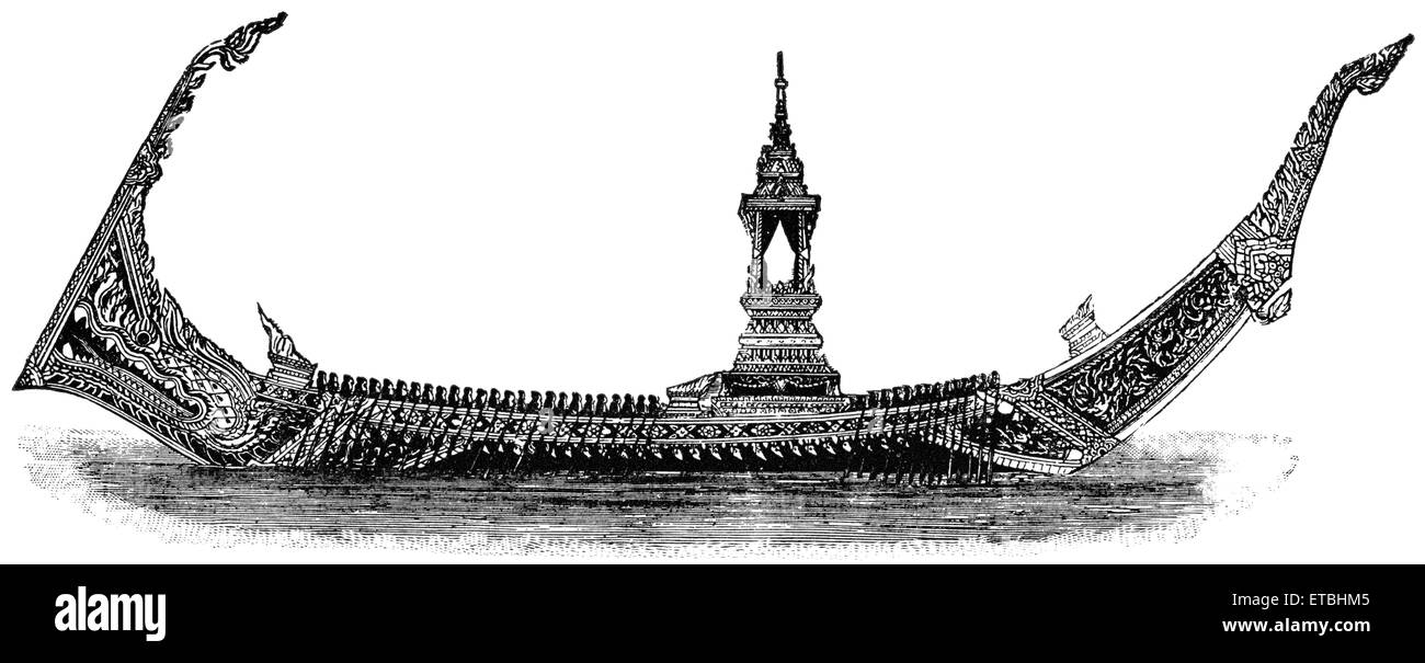 Highly Ornamented Barge, with Forty Rowers on Each Side, Used by King of Siam, 1855, 'Classical Portfolio of - Stock Image