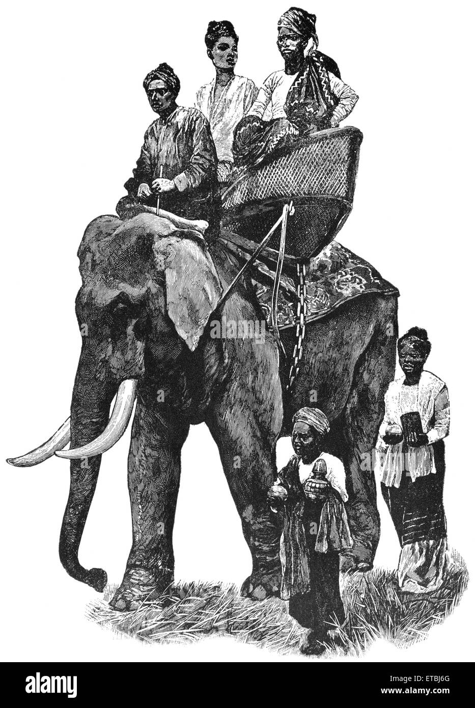Burmese Prince on Visit of State, With his Wife, 'Classical Portfolio of Primitive Carriers', by Marshall - Stock Image