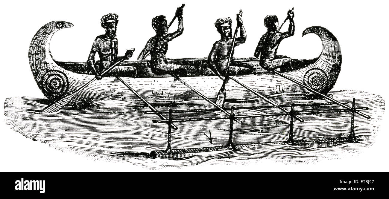 Aborigines Traveling by Canoe made of Hollow Log, New Britain, Papua New Guinea, 'Classical Portfolio of Primitive - Stock Image