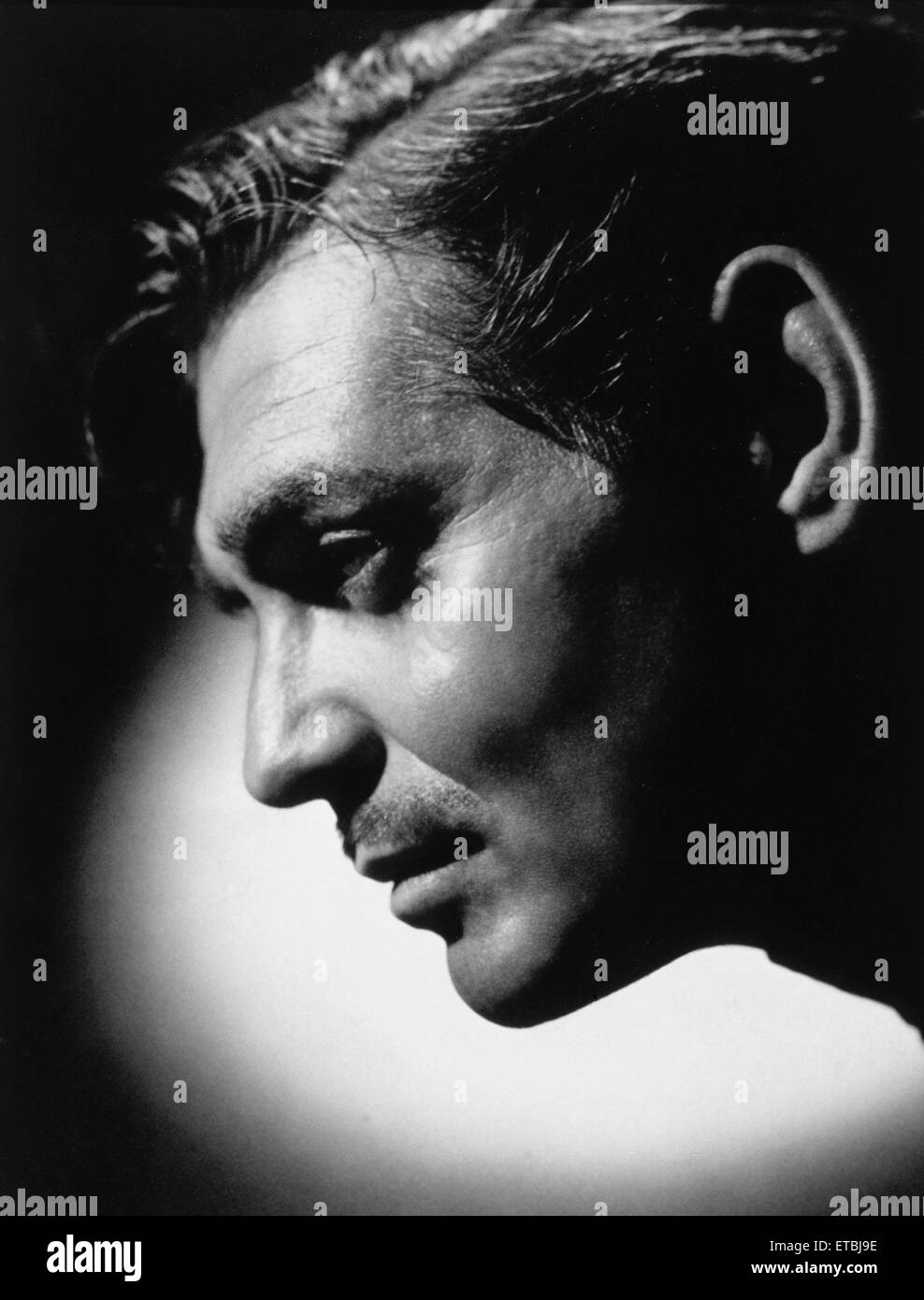 Actor Clark Gable, Close-Up Profile, 1945 - Stock Image