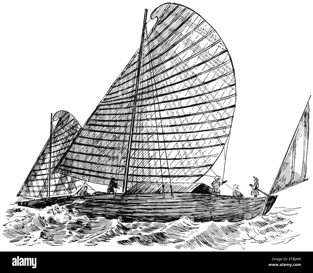Primitive Sailboat, Gulf of Tonkin, China, 'Classical Portfolio of Primitive Carriers', by Marshall M. Kirman, - Stock Image