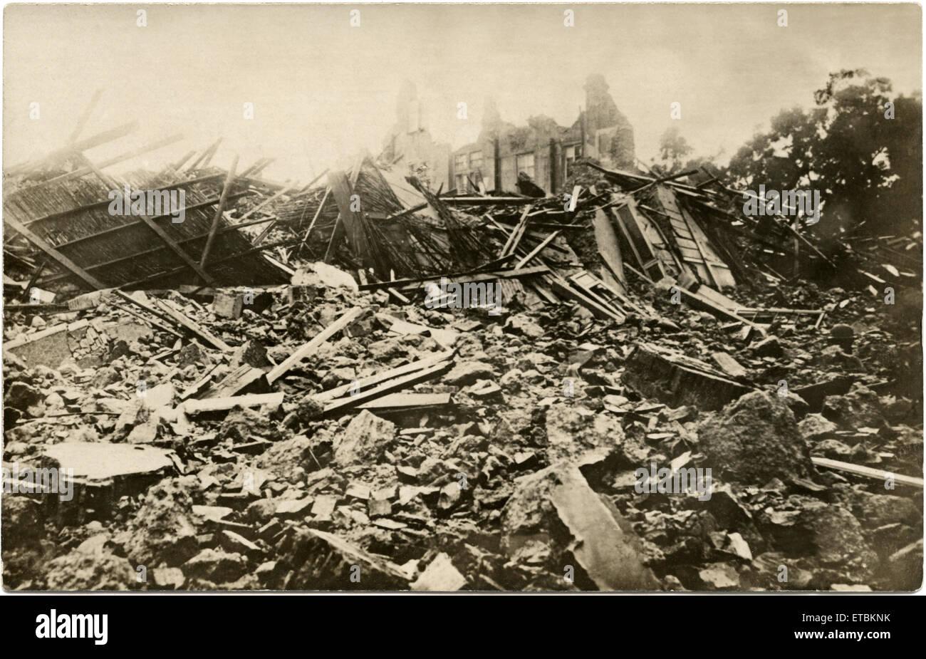 Earthquake Ruins, Messina, Sicily, Postcard, 1908 - Stock Image