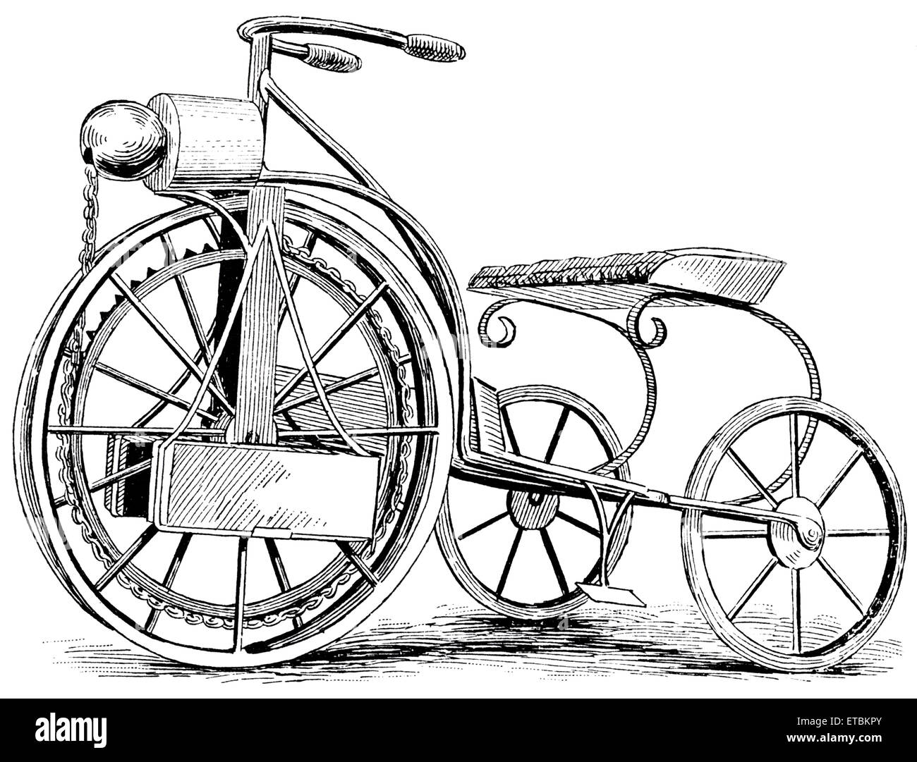 Electric Tricycle, C.H. Barrows, Illustration, circa 1895 - Stock Image