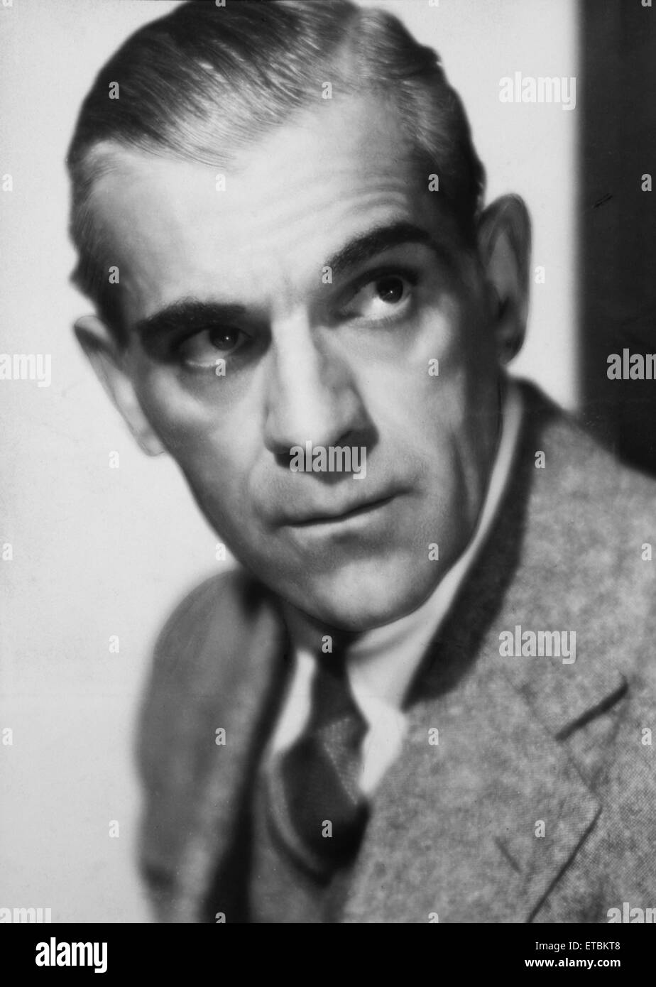 Actor Boris Karloff, Portrait, 1937 - Stock Image
