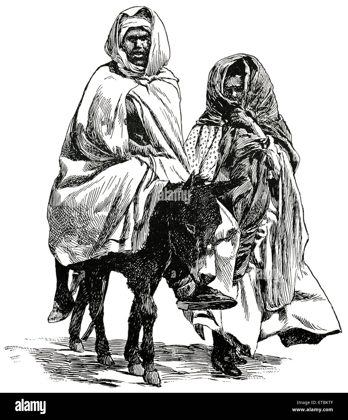 Man and Woman Traveling with Donkey, Oran, Algeria, Africa, 'Classical Portfolio of Primitive Carriers', - Stock Image