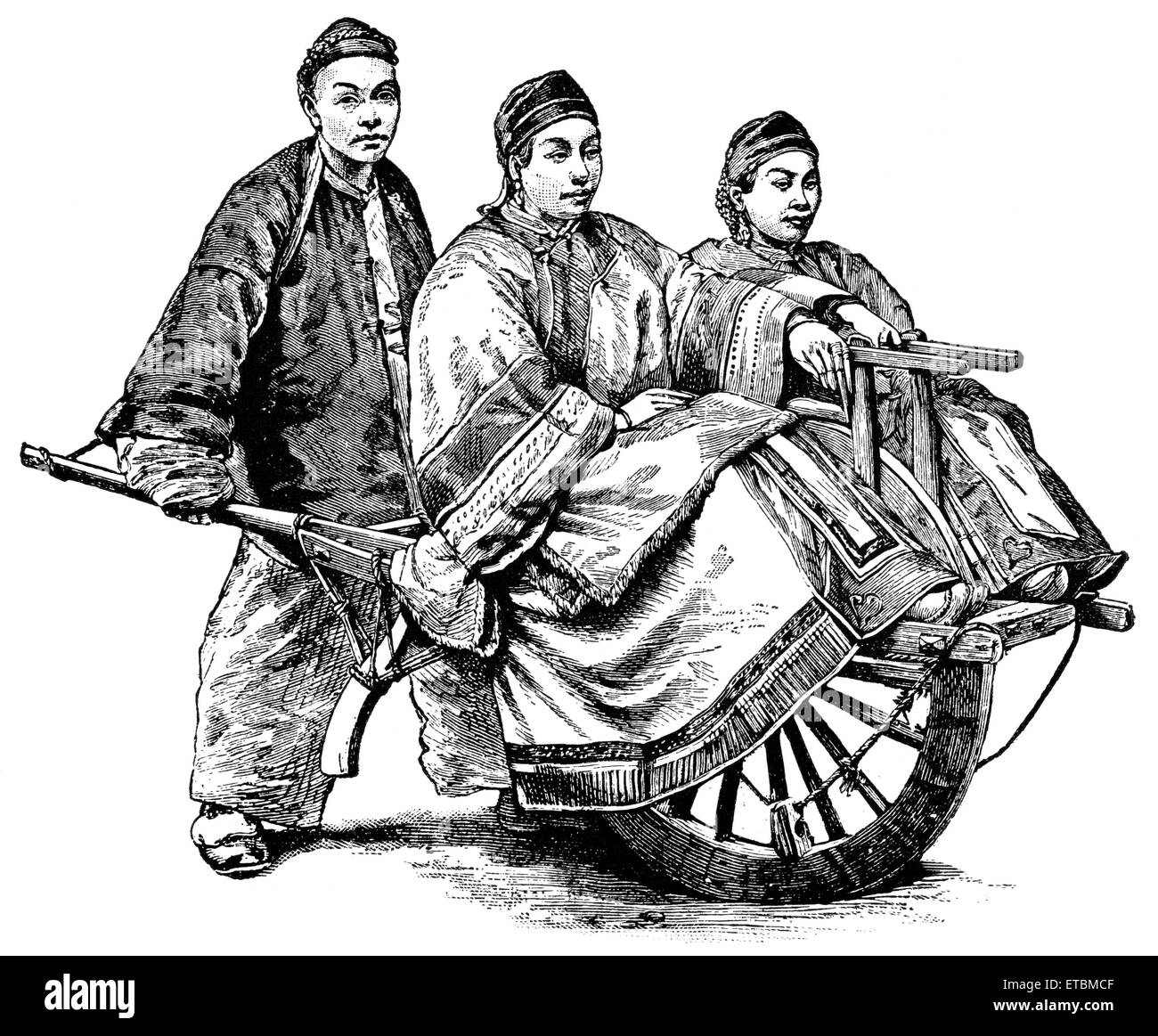 Two People Being Transported by Single-Wheel Cart, China, 'Classical Portfolio of Primitive Carriers', by - Stock Image