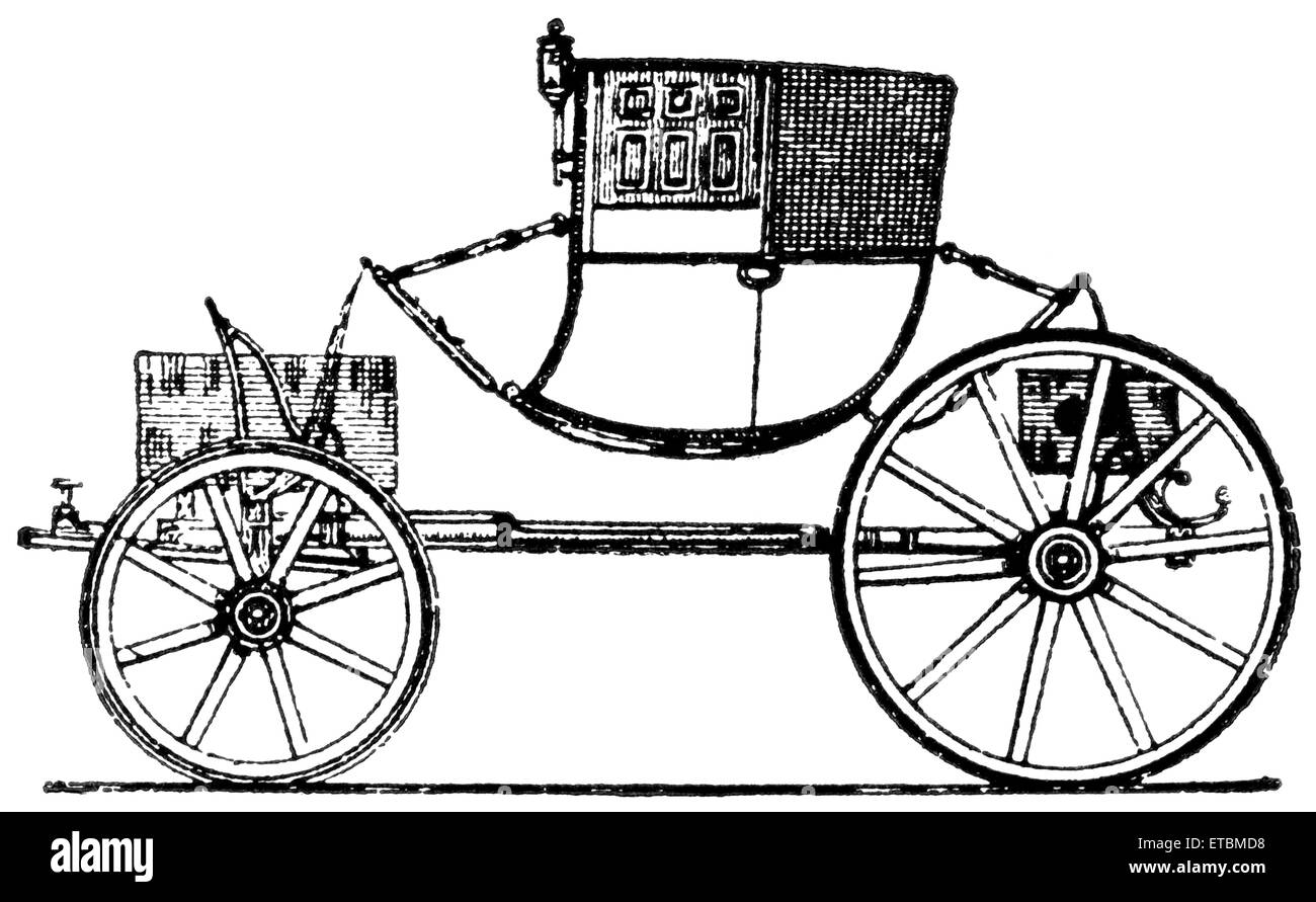 Vehicle of the time of George II, England, 1790, 'Classical Portfolio of Primitive Carriers', by Marshall - Stock Image
