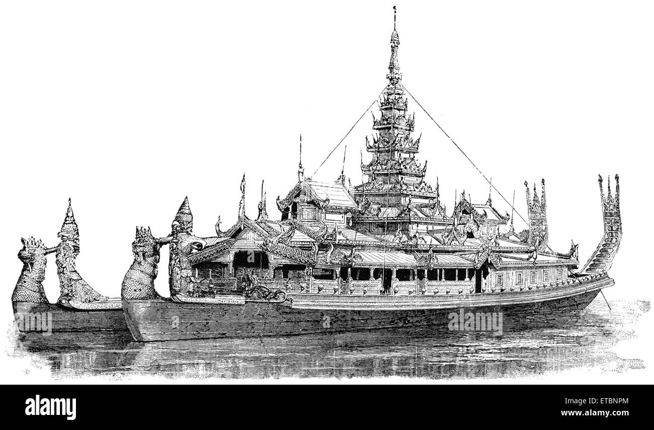 State Barge of a King of Burma, 'Classical Portfolio of Primitive Carriers', by Marshall M. Kirman, World - Stock Image