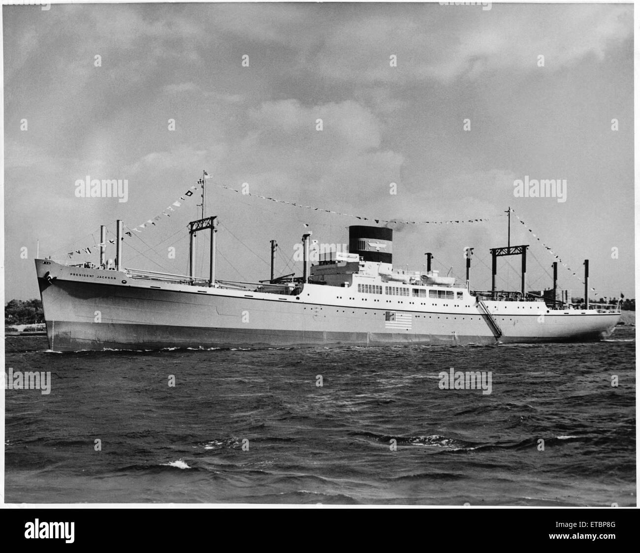 U.S. Naval Ship President Jackson, Circa 1953 - Stock Image