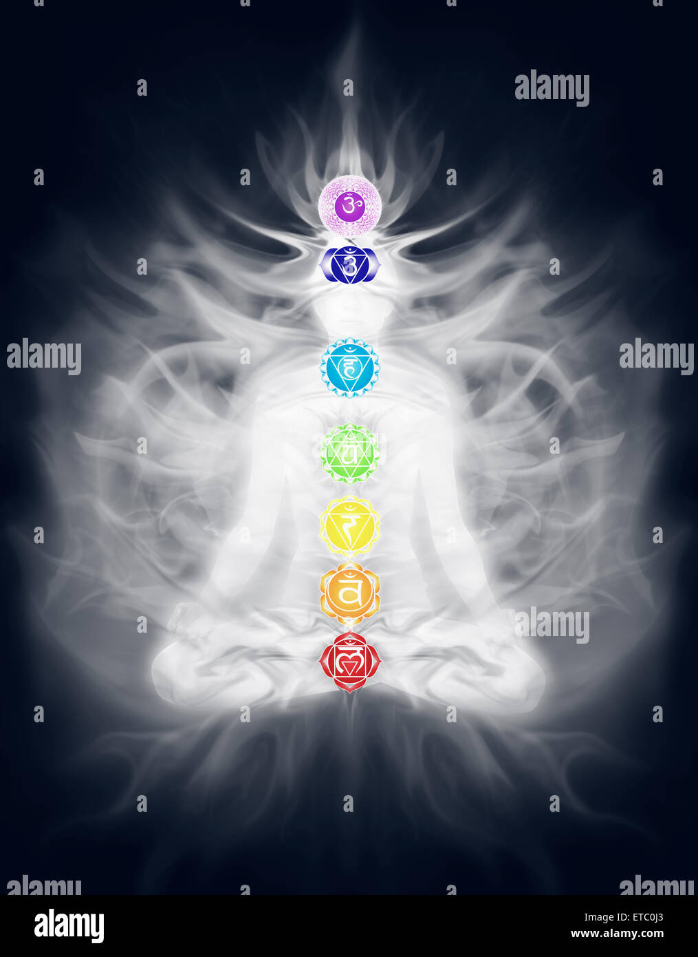 Silhouette of a woman meditating in lotus pose with Chakra symbols and energy flow overlayed on her body - Stock Image