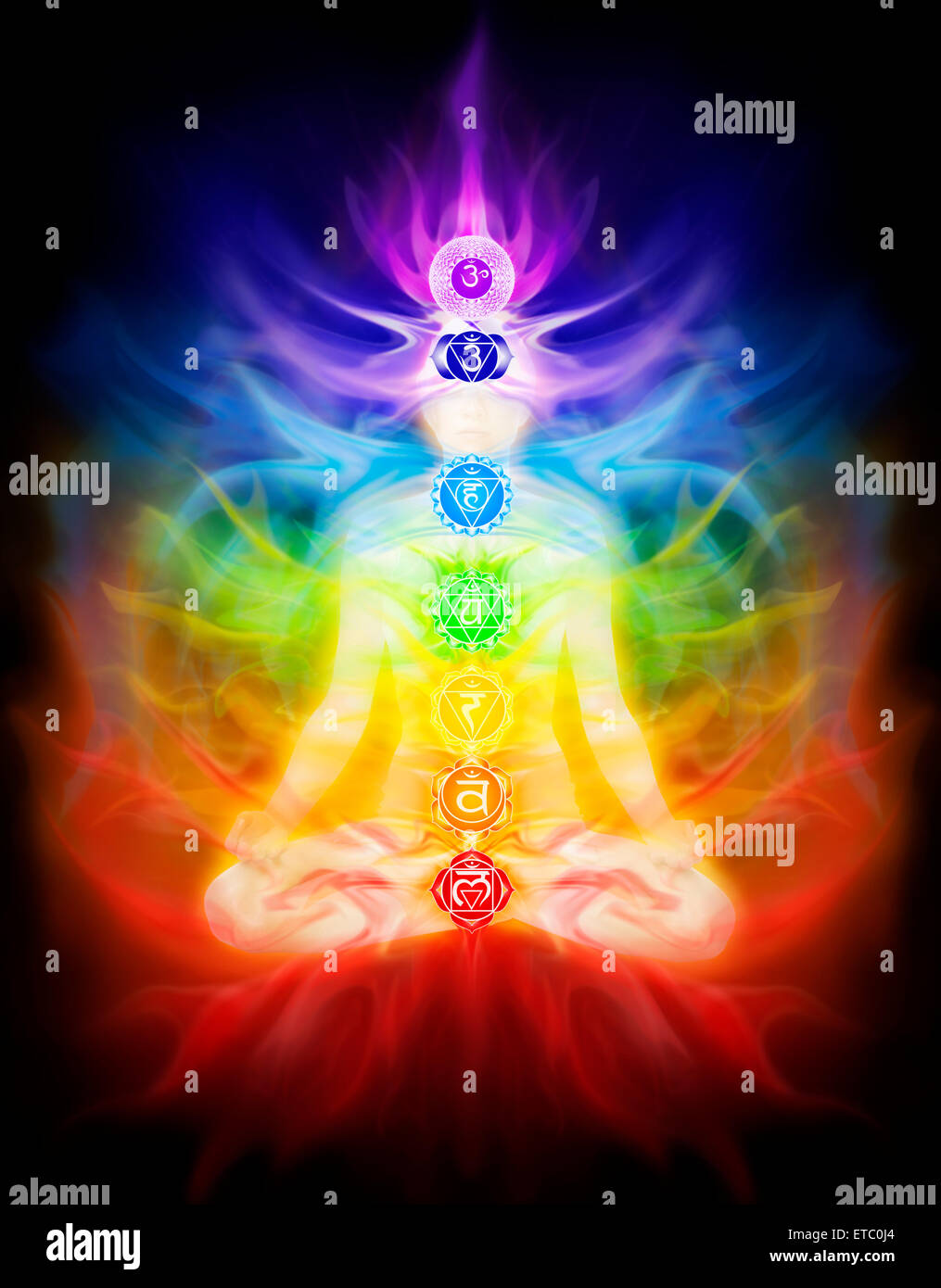 Woman sitting in lotus pose with seven chakra symbols and emanating colored energy flow overlayed on her silhouette - Stock Image