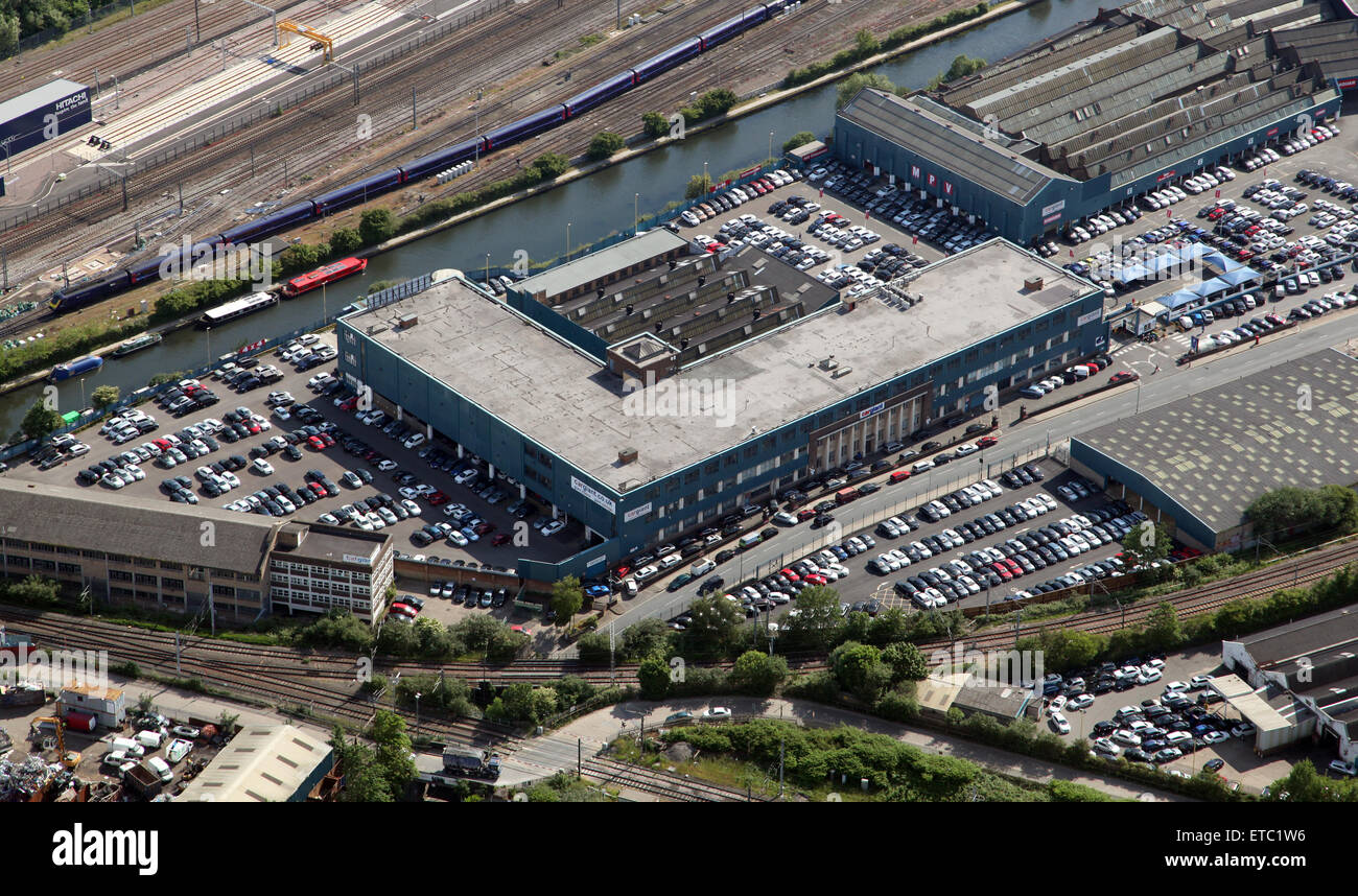aerial view of part of the Car Giant site at White City, West London, UK - Stock Image