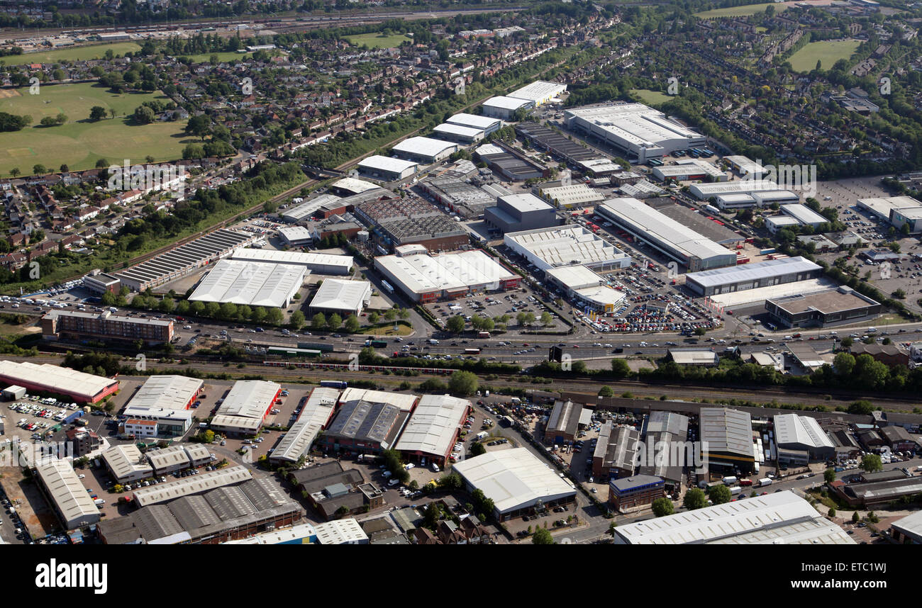 aerial view of Heron Trading Estate, West London, UK - Stock Image