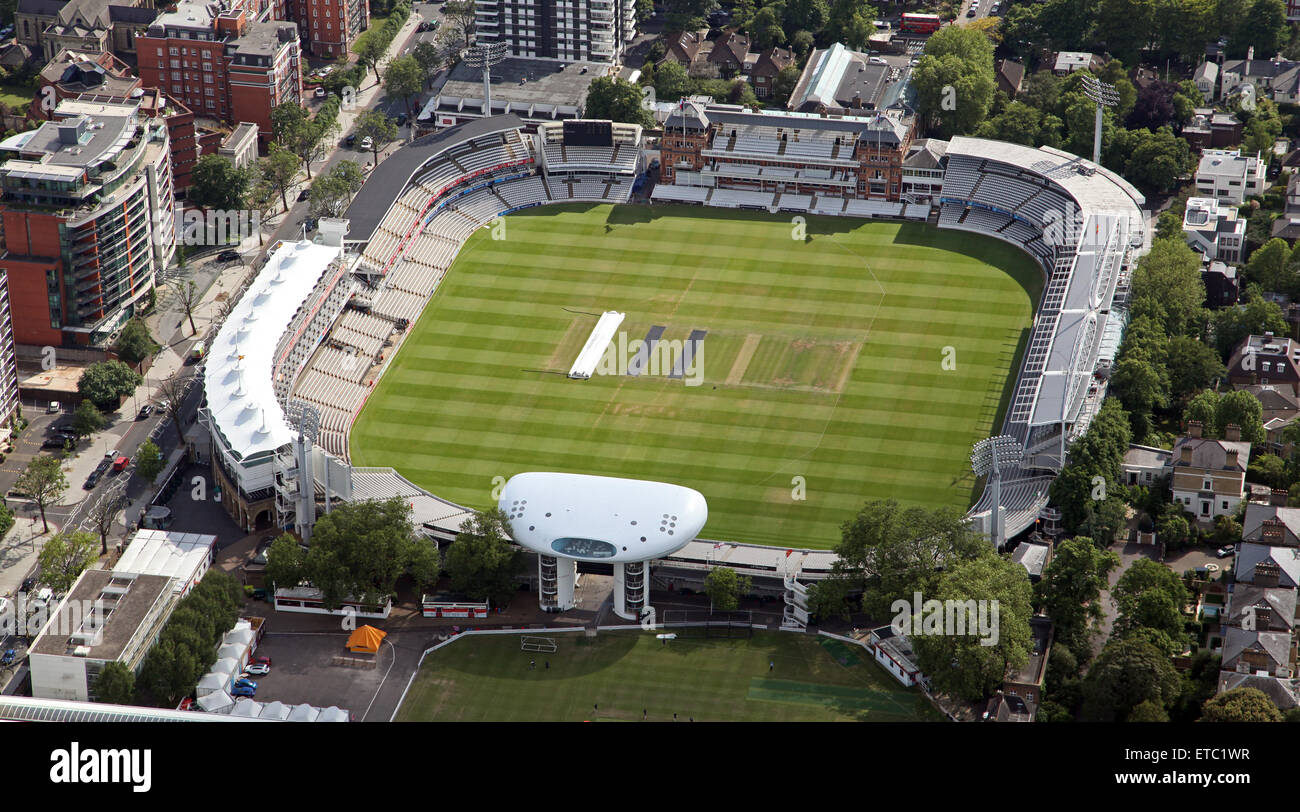 aerial view of the Lords cricket Ground, St Johns Wood, London, UK - Stock Image