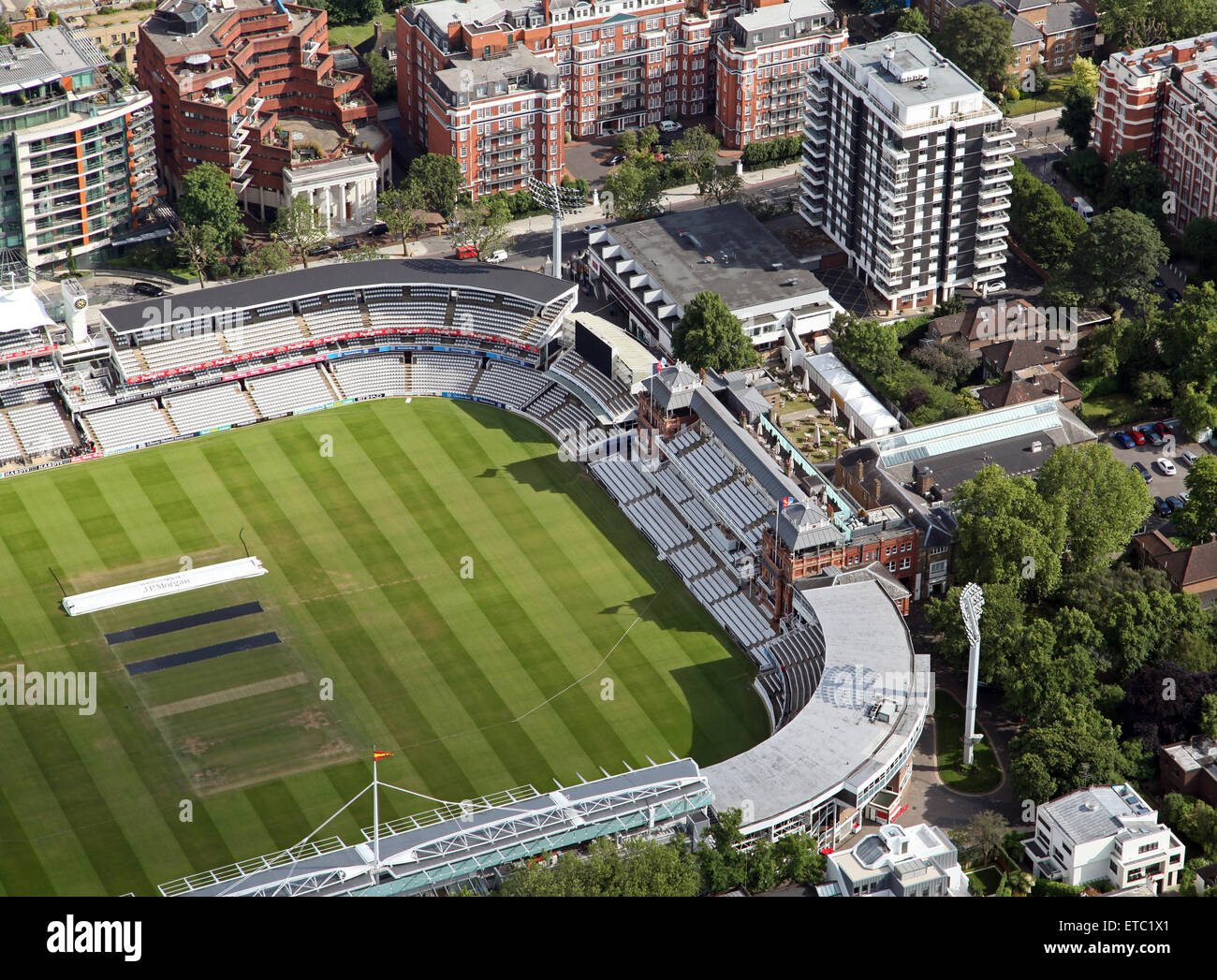 aerial view of the Lords cricket Ground pavilion, St Johns Wood, London, UK - Stock Image