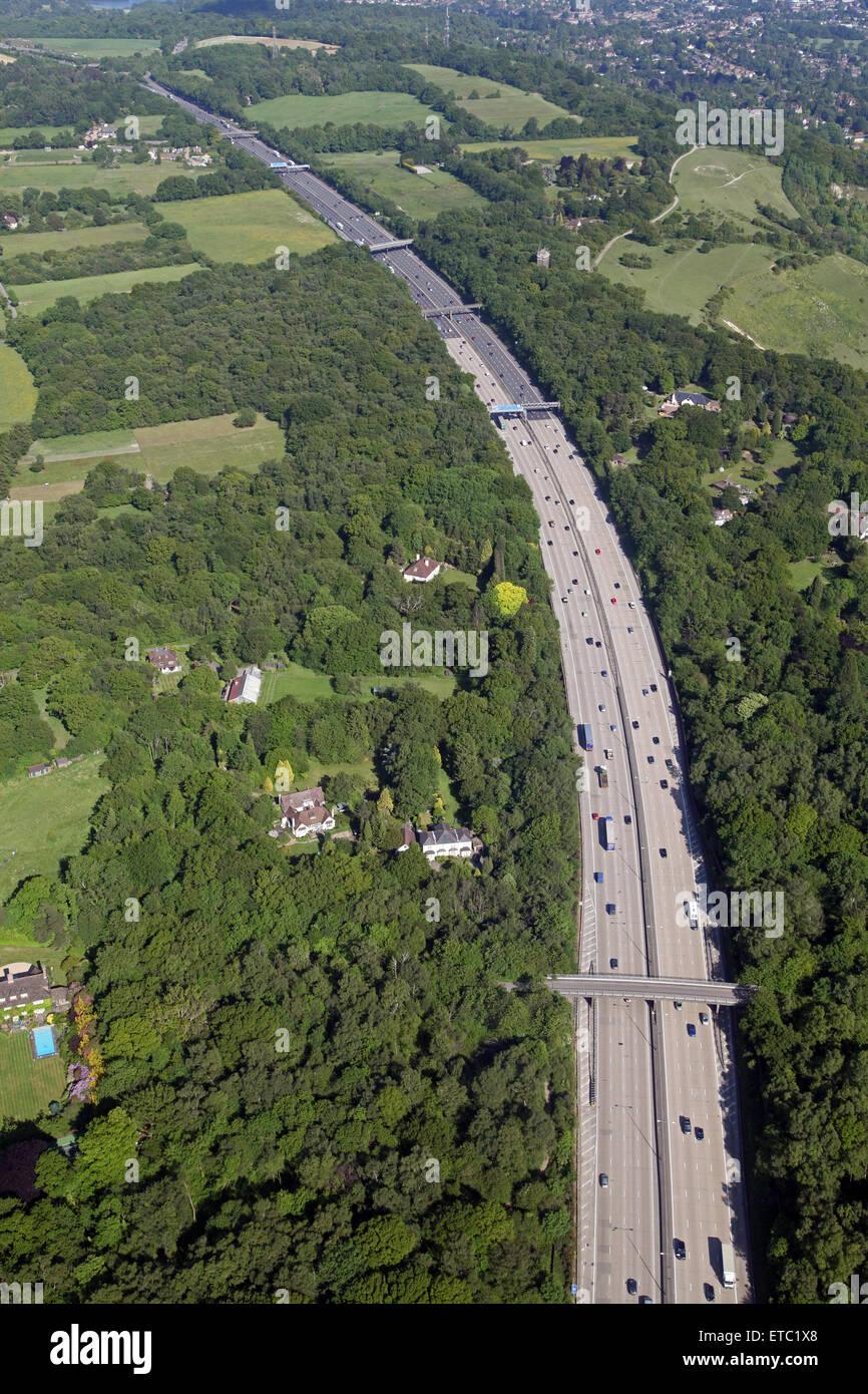 aerial view of the M25 London orbital motorway at Mogador in Surrey, UK - Stock Image
