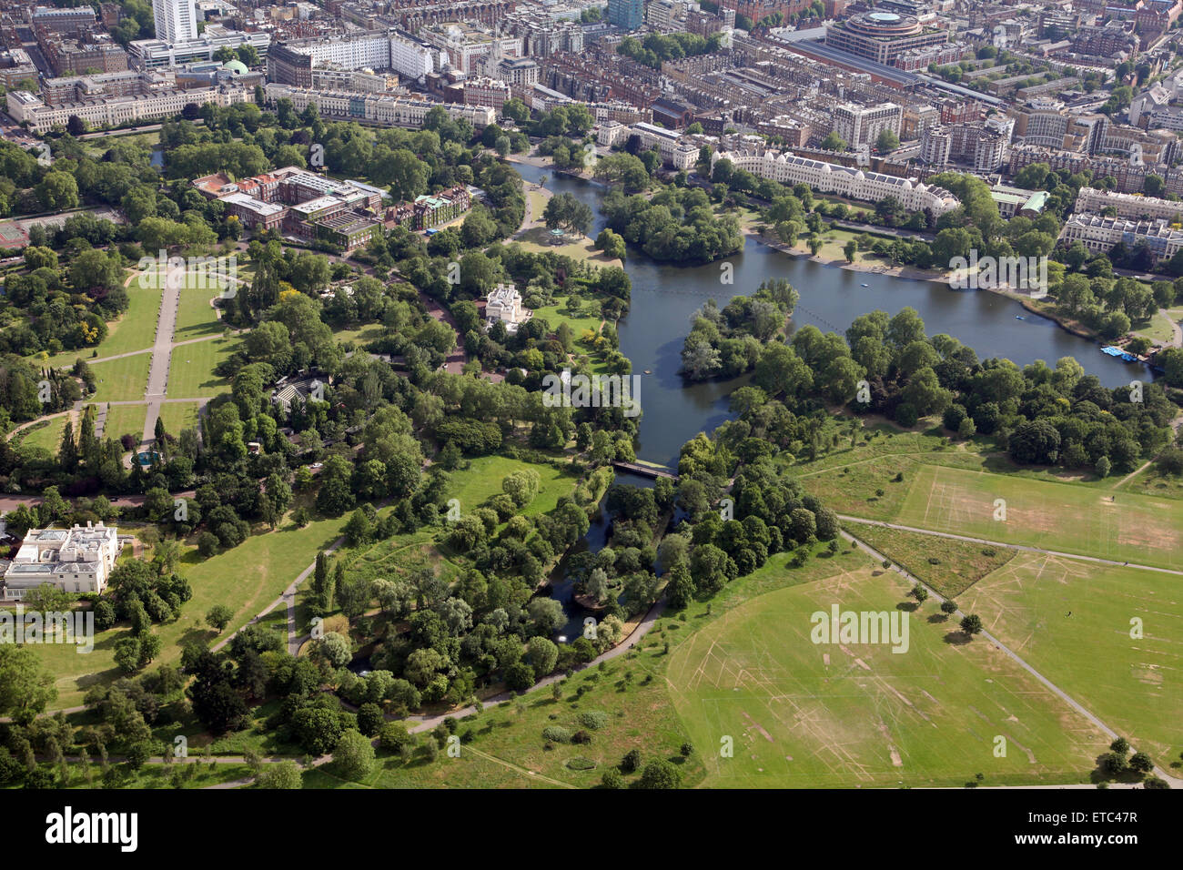 aerial view of Regents Park in London, UK Stock Photo