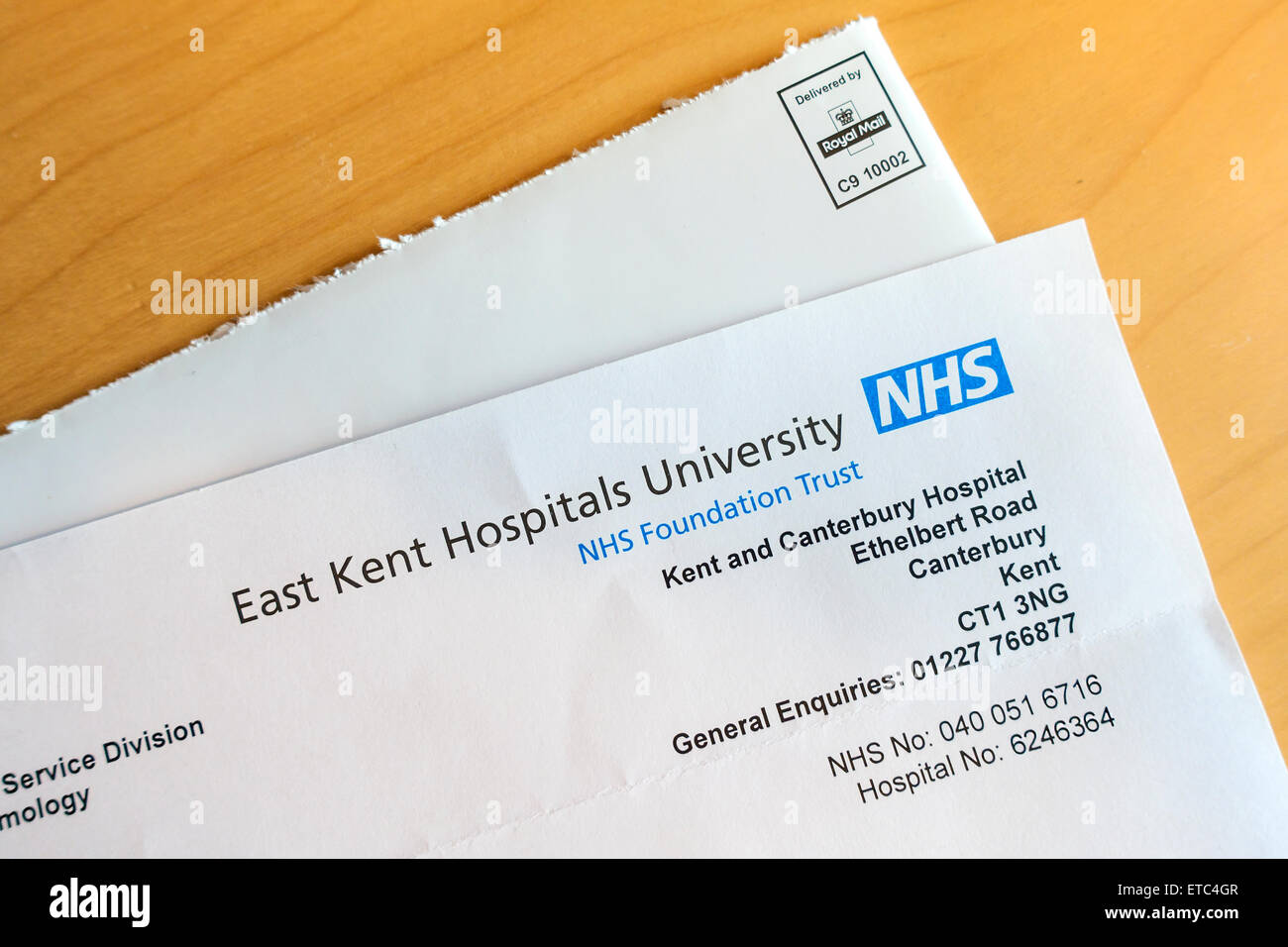 NHS Letter from Hospital East Kent Hospitals University Kent and Canterbury Hospital - Stock Image