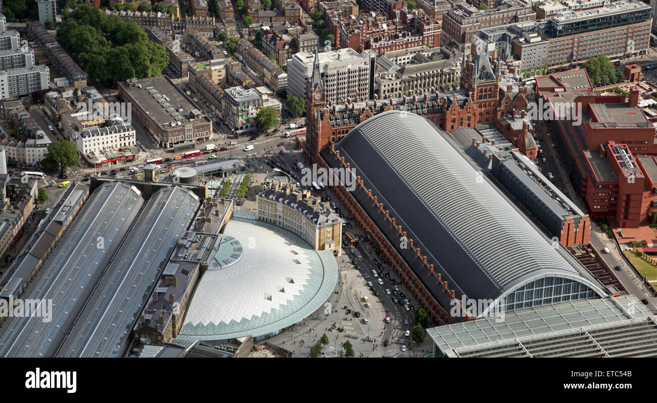 aerial view of Kings Cross and St Pancras Stations in London - Stock Image