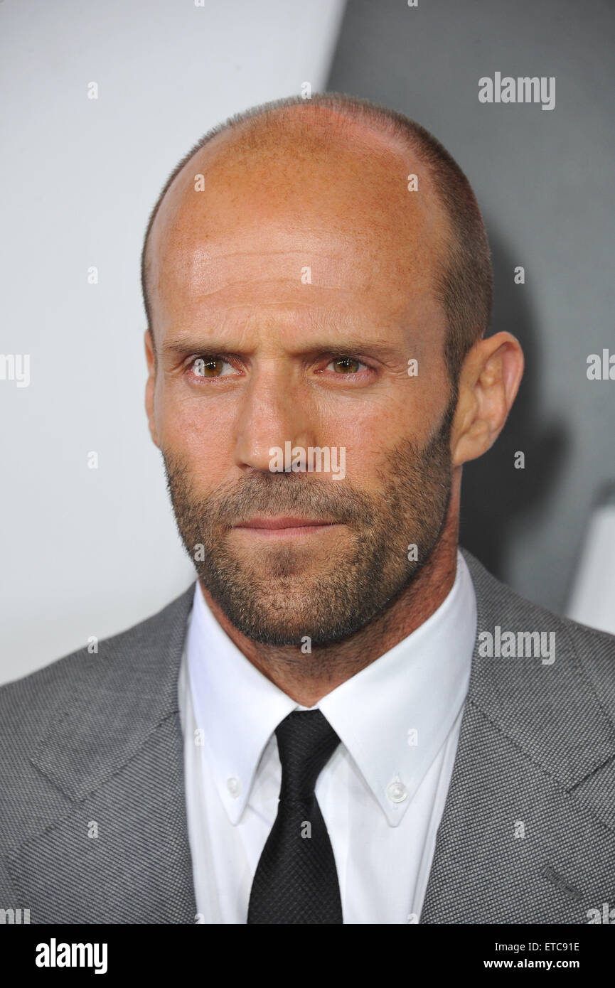 """LOS ANGELES, CA - APRIL 1, 2015: Jason Statham at the world premiere of his movie """"Furious 7"""" at the TCL Chinese Stock Photo"""