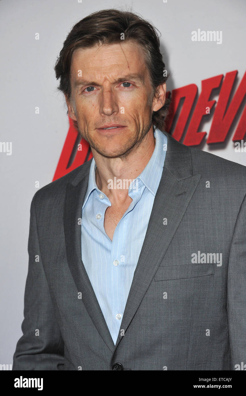 LOS ANGELES, CA - APRIL 2, 2015: Gideon Emery at the premiere of his Netflix series 'Marvel's Daredevil' - Stock Image