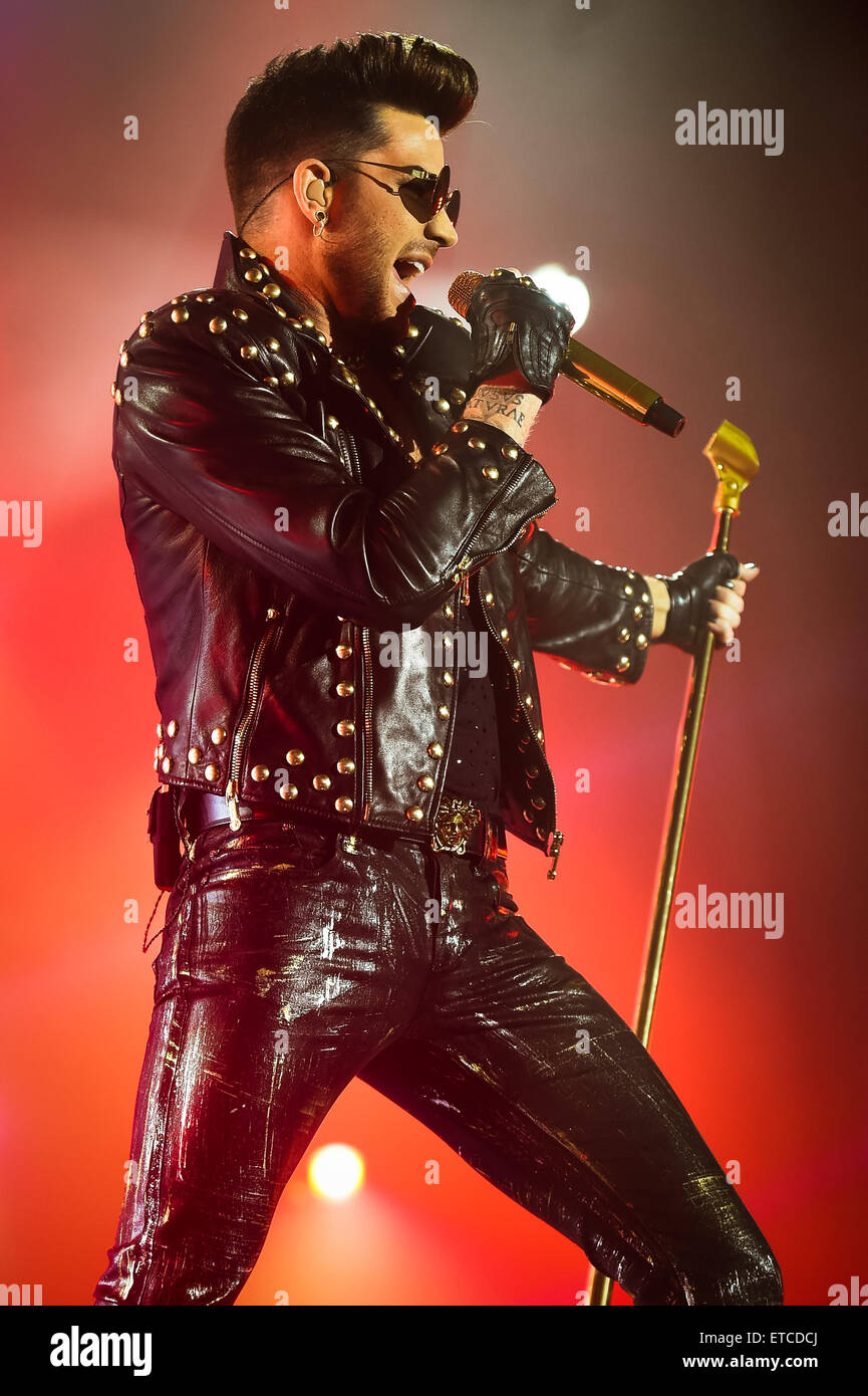 Queen and Adam Lambert perform live at the O2 Arena  Featuring: Adam Lambert Where: London, United Kingdom When: - Stock Image