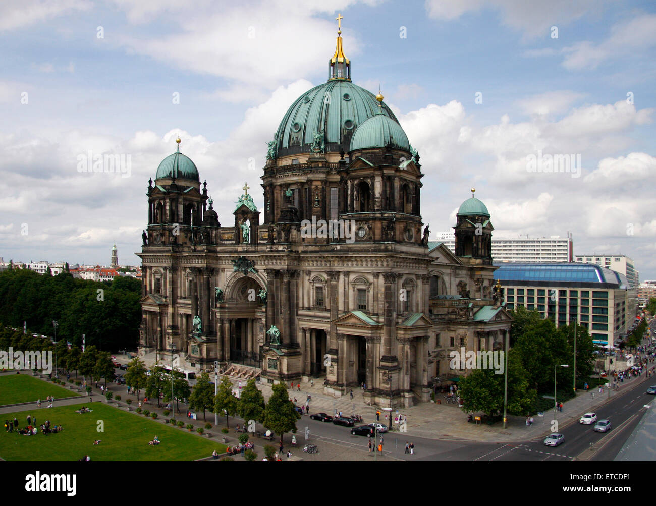 JUNE 2012 - BERLIN: aerial view of the 'Berliner Dom' (Berlin Cathedral) in the Mitte district of Berlin. - Stock Image