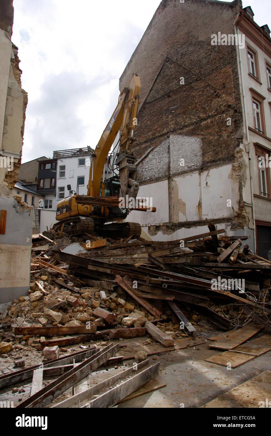 Abriss eines Hauses, Augustinergasse, Mainz. Stock Photo