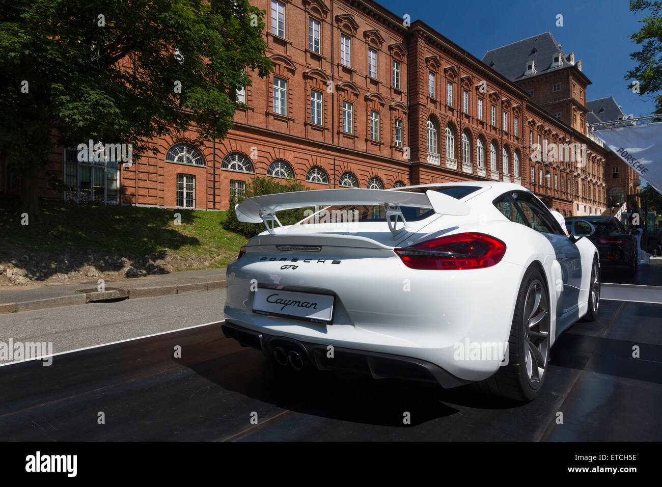 Turin Italy 11th June 2015 Back View Of Porsche Cayman Gt4