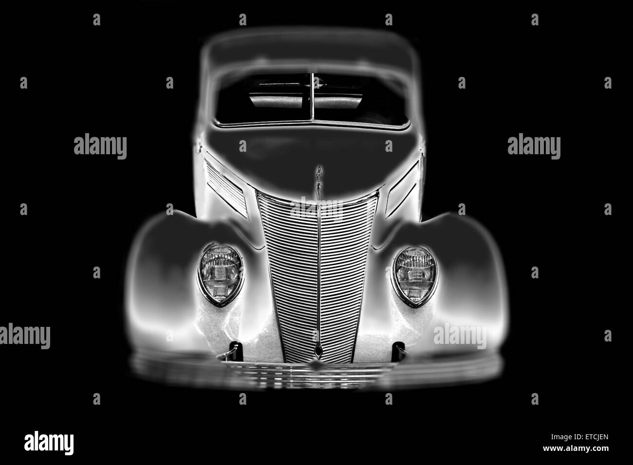 Custom 1937 Ford coupe, B&W - Stock Image