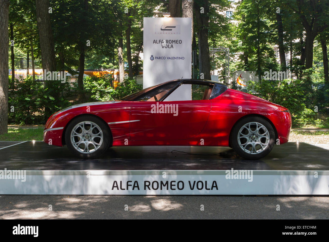 Turin, Italy. 11th June, 2015. Prototype car Alfa Romeo Vola by Fioravanti. Parco Valentino car show hosted 93 cars - Stock Image