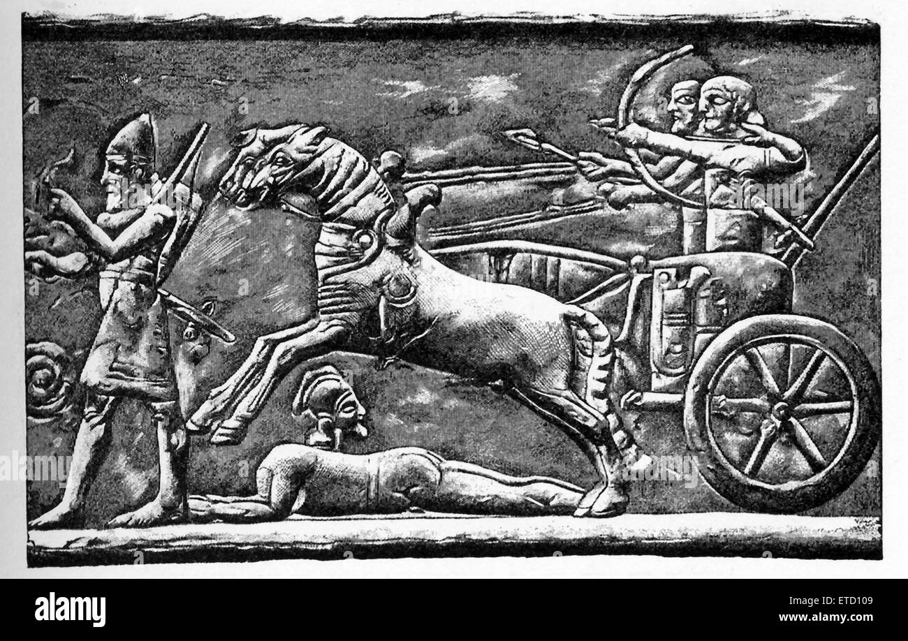 This relief panel shows an Assyrian war chariot of ninth century B.C. The drawing is by Faucher-Gudin, from one - Stock Image