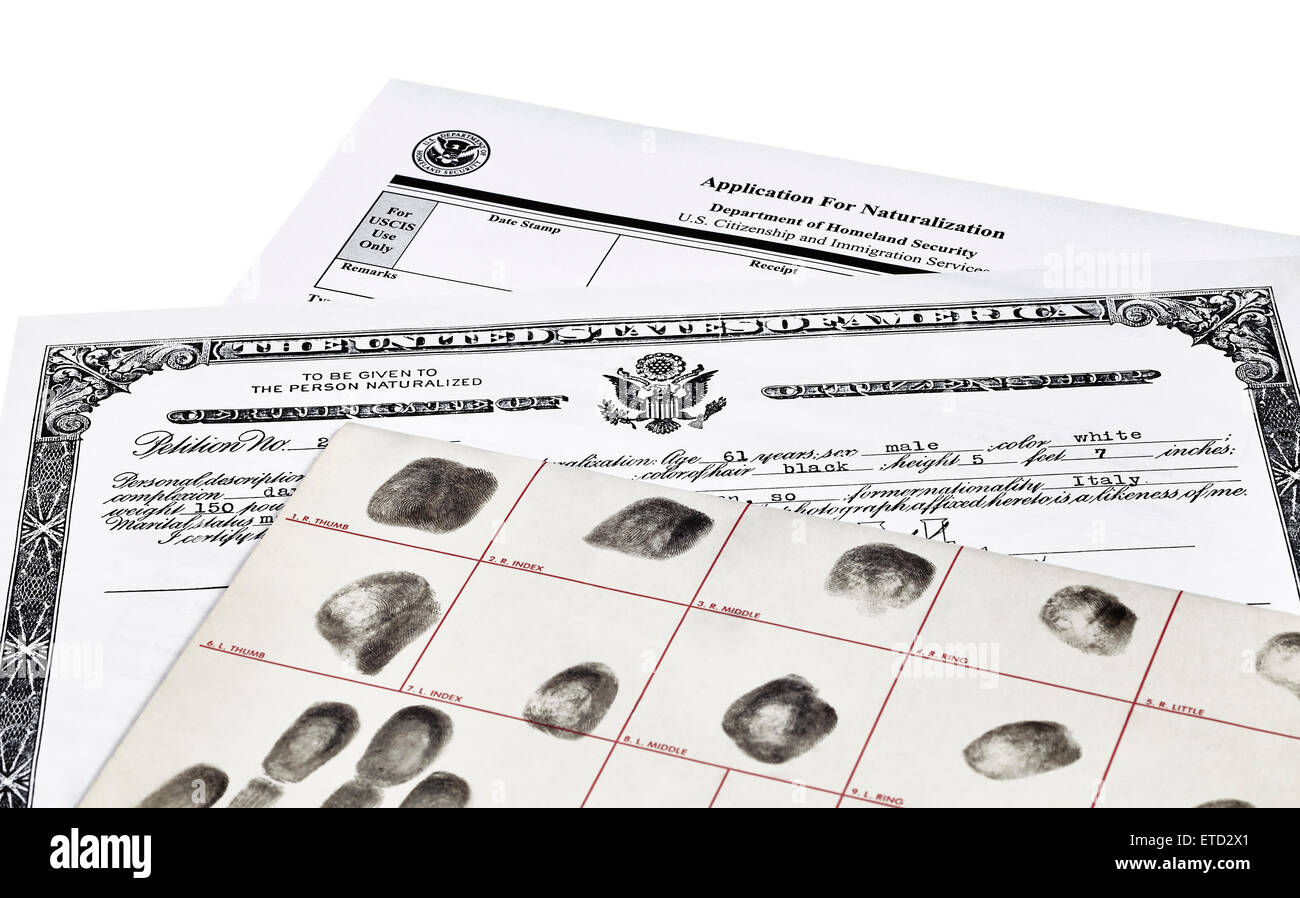Certificate of Citizenship, fingerprint card and application for naturalization, isolated on white - Stock Image