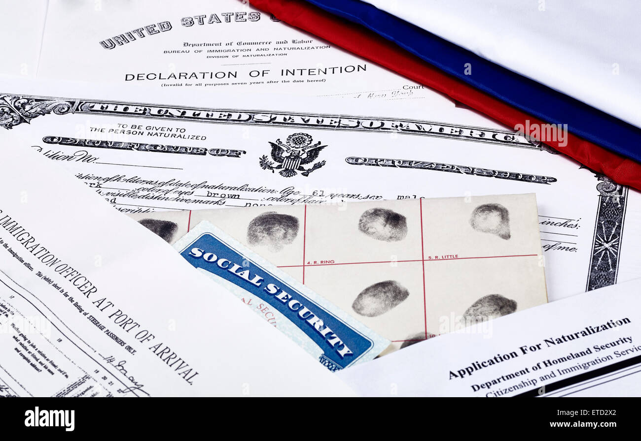 US Certificate of Citizenship, declaration of intention, fingerpirnt card, social security card, application for - Stock Image