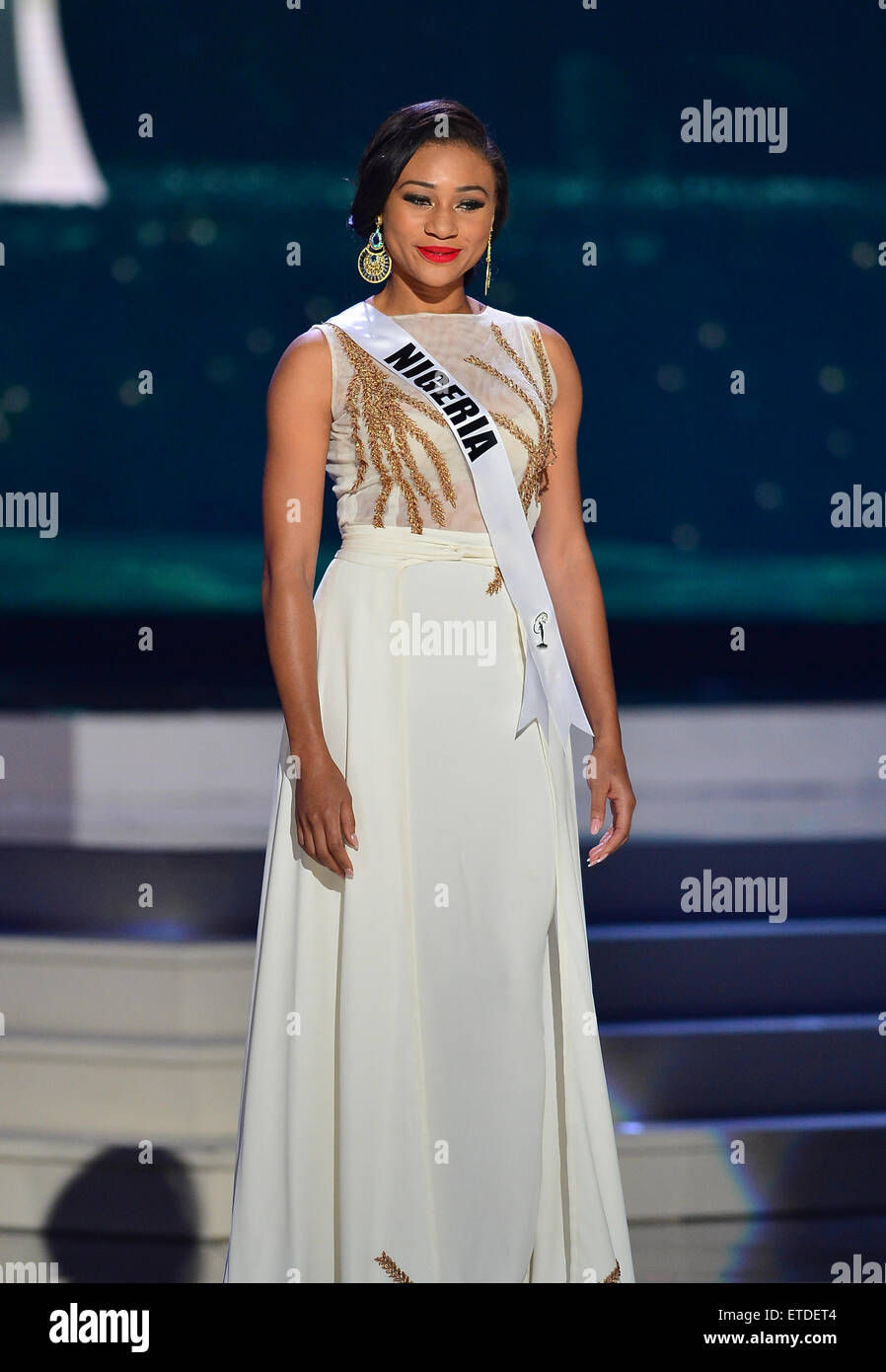 63rd Annual Miss Universe Pageant - Preliminary Show: Evening Gown Competition at Florida International University - Stock Image