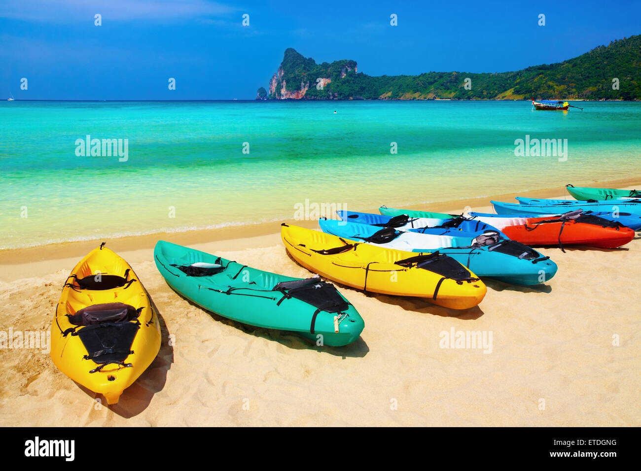 Kayaks on the tropical beach, Phi-Phi Don island, Thailand Stock Photo