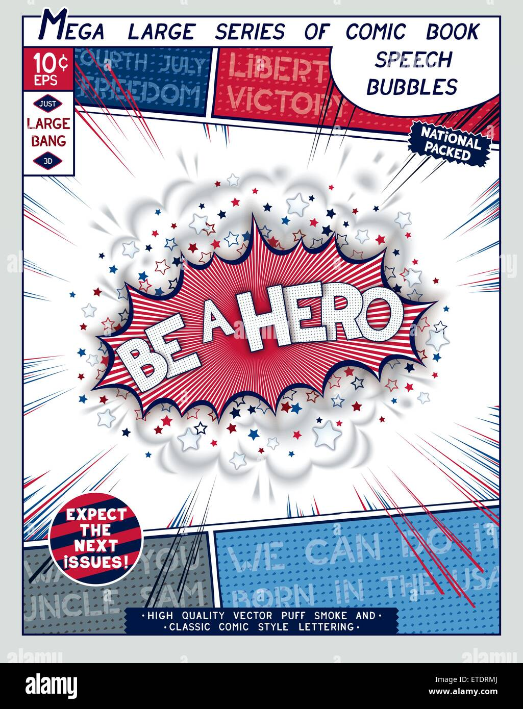 Be a hero. Explosion in comic style with lettering and realistic puffs smoke. 3D vector pop art speech bubble - Stock Vector