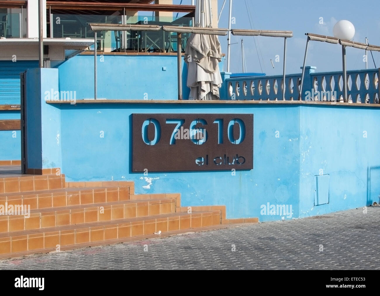 Entrance to the Club in Cala Estancia marina with postal code 07610 on a sunny spring day on April 22, 2015 in Palma - Stock Image