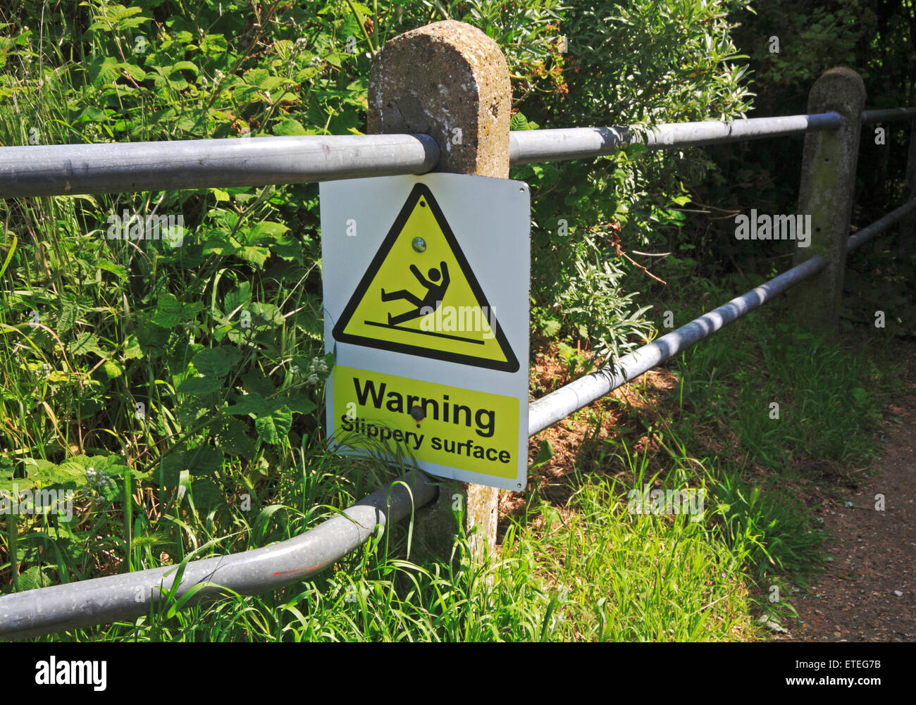 A slippery surface warning sign on a steep path to the beach at Cromer, Norfolk, England, United Kingdom. - Stock Image