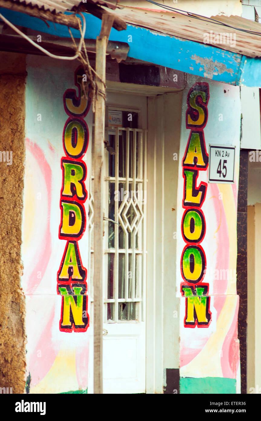 Salon painted as 'saloon', Nyamirambo, Kigali, Rwanda - Stock Image